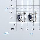 """Серьги Teosa серебро с родием, сапфир фианит, с английским замком, """"halo"""" E-DRGR00491-SP, фото 2"""