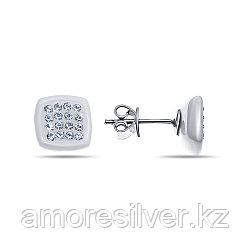 Серьги Teosa серебро с родием, керамика фианит, штифтовой замок, квадрат SCE-137-W-R