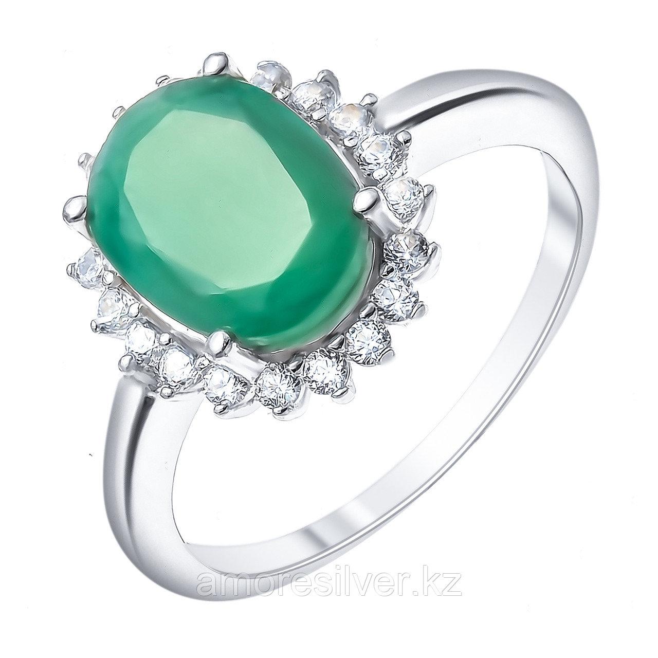 "Кольцо Teosa серебро с родием, изумруд топаз, ""halo"" R-DRGR00685-EM-T размеры - 17,5"