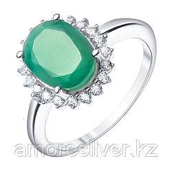 """Кольцо Teosa серебро с родием, изумруд топаз, """"halo"""" R-DRGR00685-EM-T"""