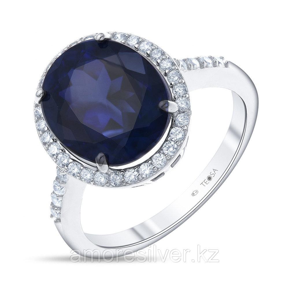 """Кольцо Teosa серебро с родием, сапфир фианит, """"halo"""" R-DRGR00491-SP размеры - 18,5"""