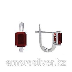 "Серьги Teosa серебро с родием, рубин нат. (h), ""каратник"" E-DRGR00555-RB"