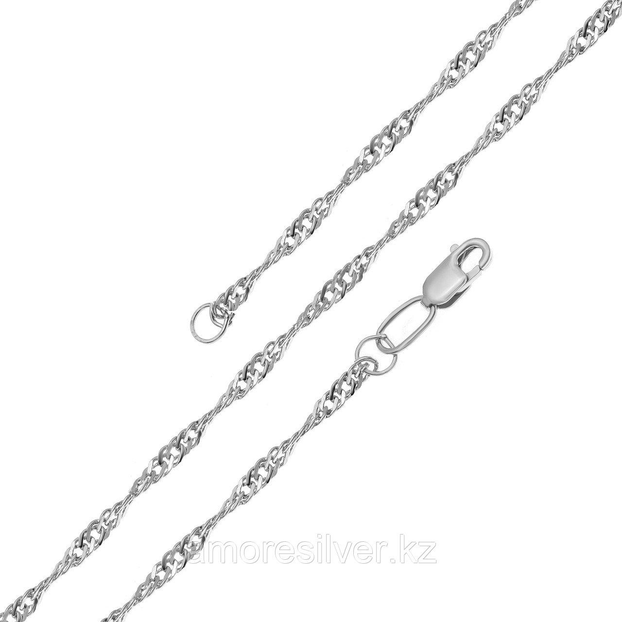 Цепь  серебро с родием, без вставок, сингапур 81035022740 размеры - 40