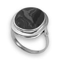 Кольцо  серебро с родием, яшма 210845 размеры - 18,5