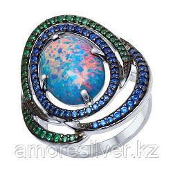 Кольцо SOKOLOV серебро с родием, опал синт. фианит, модное 83010045