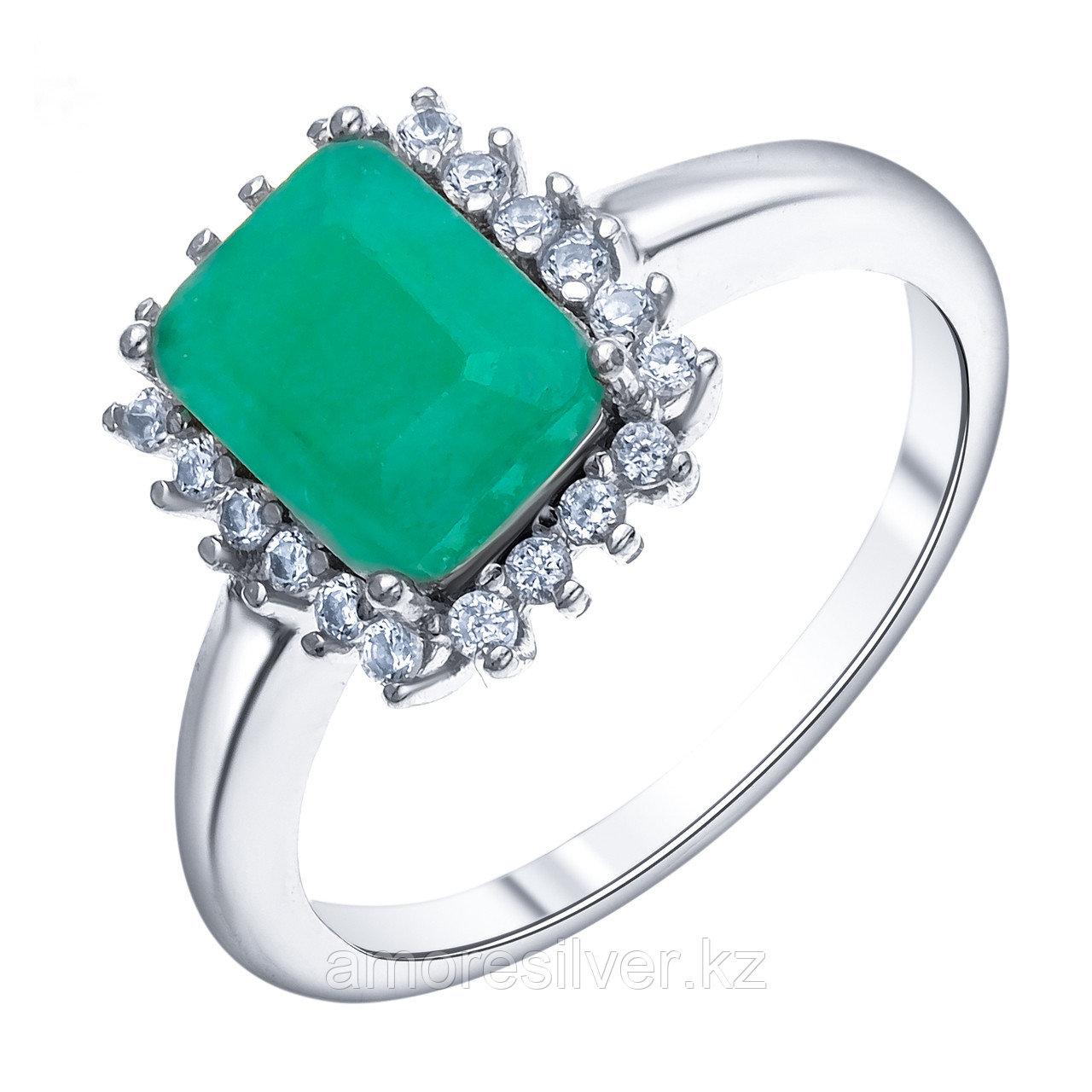 """Кольцо Teosa серебро с родием, изумруд фианит, """"halo"""" R-DRGR00686-EM размеры - 16,5"""