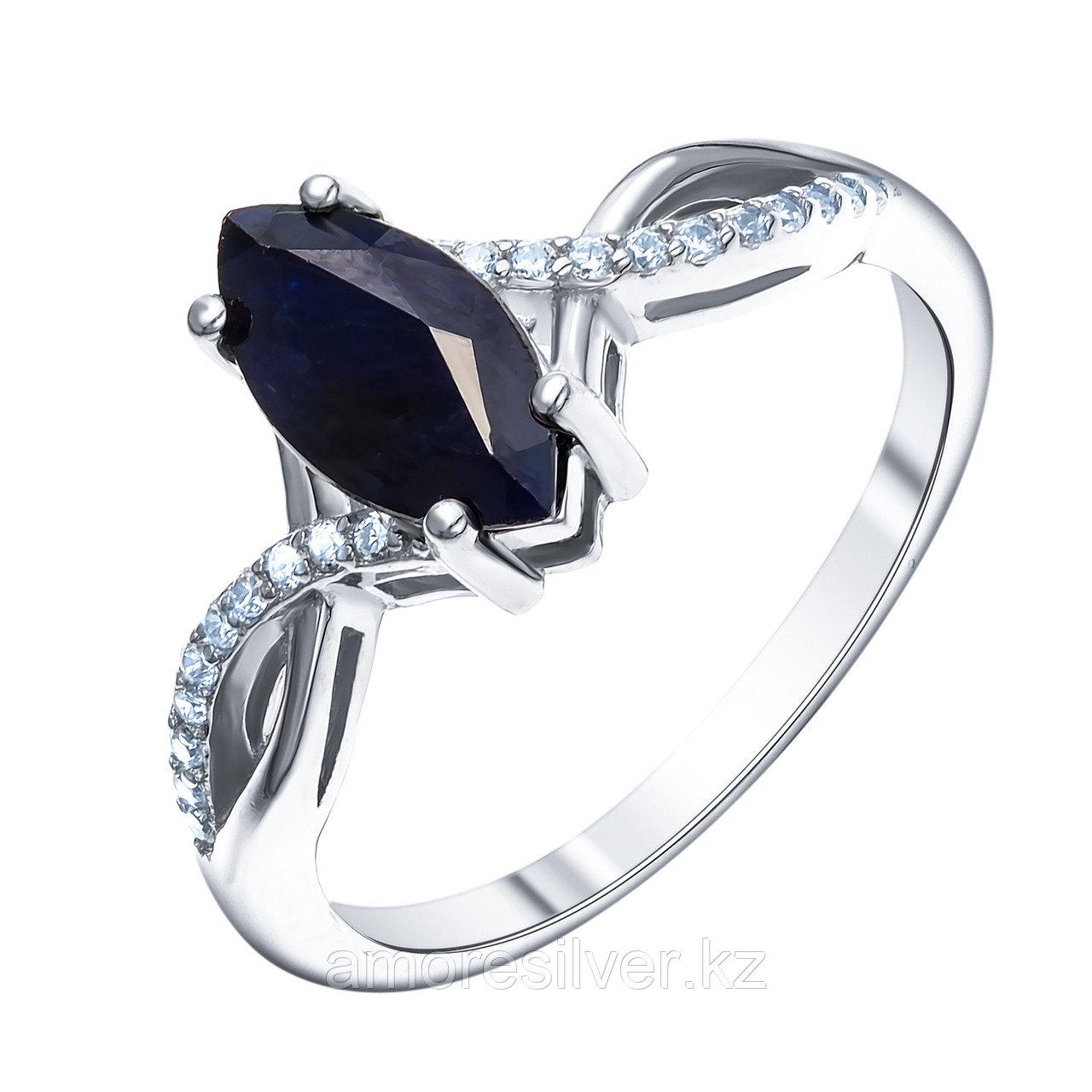 Кольцо из серебра с сапфиром нат. (u) и фианитом  Teosa R-DRGR00936-SP размеры - 17