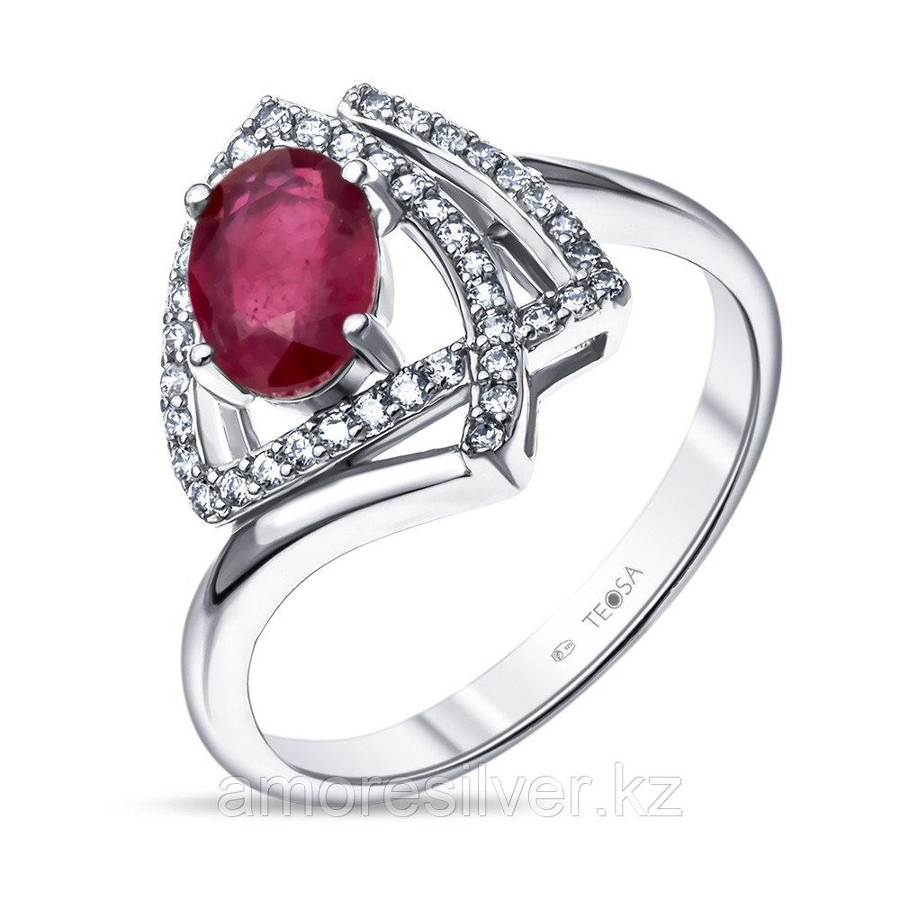 """Кольцо Teosa серебро с родием, рубин фианит, """"halo"""" R-DRGR00828-RB размеры - 16 16,5"""