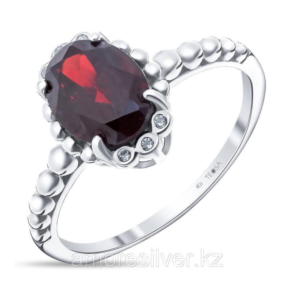 """Кольцо Teosa серебро с родием, гранат фианит, """"halo"""" R-DRGR00738-GR"""