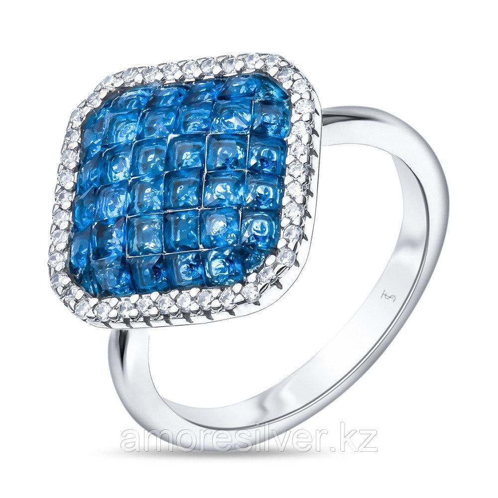 Кольцо TEO SANTINI серебро с родием, кубический циркон, многокаменка TS81457-R-QCBL размеры - 17,5