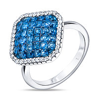 Кольцо TEO SANTINI серебро с родием, кубический циркон, , многокаменка TS81457-R-QCBL размеры - 17,5