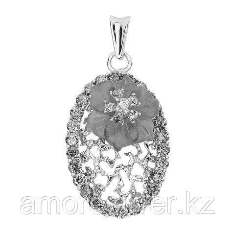 Подвеска  серебро с родием, кварц фианит, , флора 3134фрр