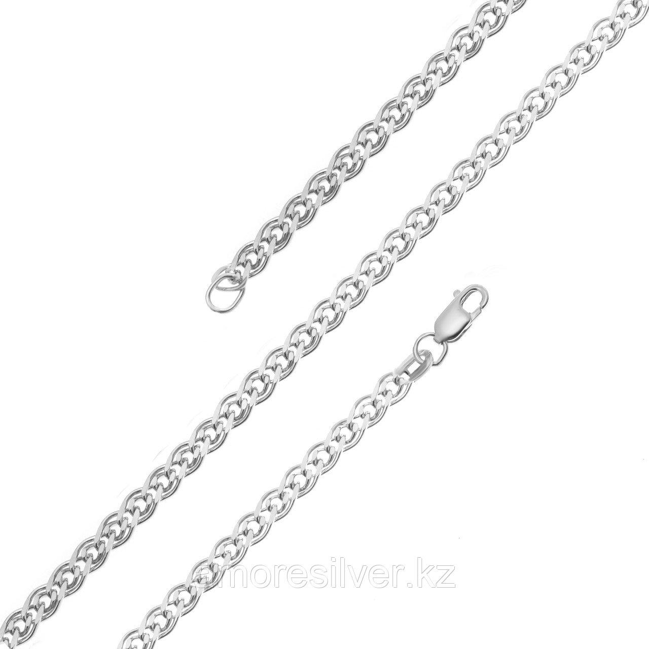 Цепь Красцветмет серебро с родием, без вставок, нонна НЦ 22-200-3-050 размеры - 40 45 50 55 60