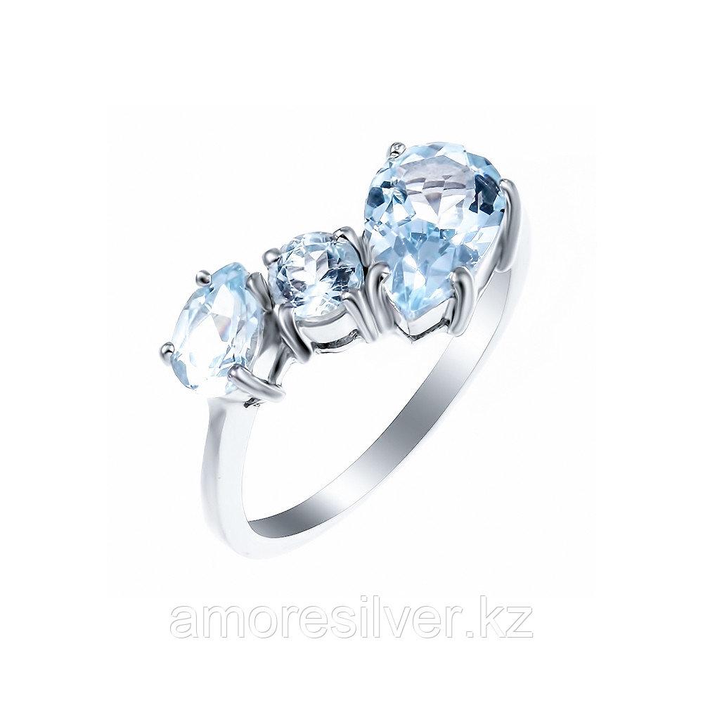 Кольцо Teosa серебро с родием, топаз, многокаменка 0248-R-T