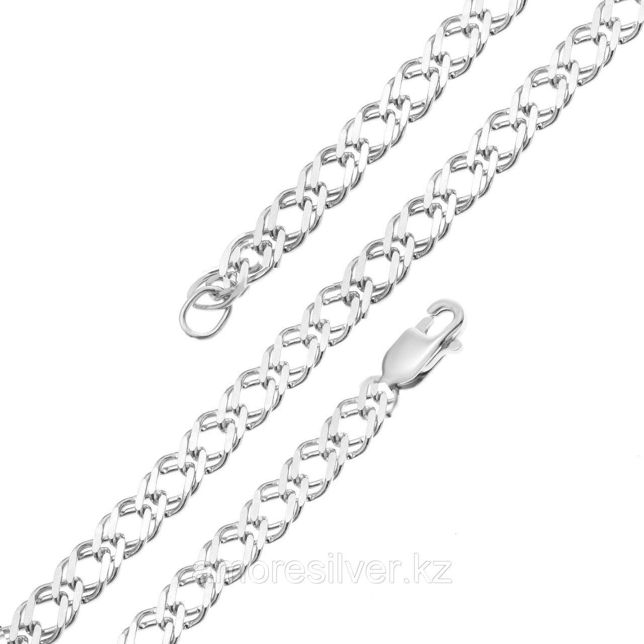 Браслет Красцветмет серебро с родием, без вставок, ромб двойной НБ 22-076-3-060 размеры - 18 19