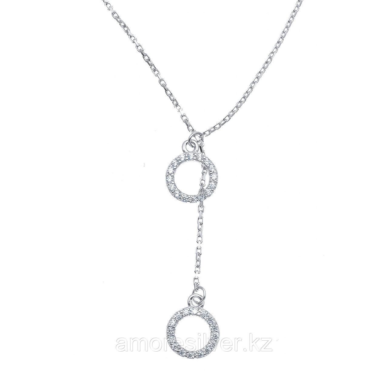 Колье ЗОЛОТЫЕ КУПОЛА серебро с родием, фианит, круг 0320296-20775