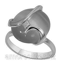 Кольцо Невский серебро с родием, кварц розовый фианит, , круг 13118Р размеры - 17,5