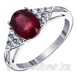 "Кольцо Teosa серебро с родием, рубин нат. (h) фианит иск., ""halo"" R-DRGR00507-RB"