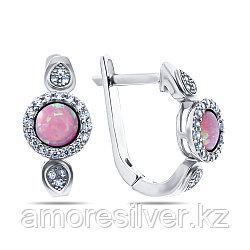 Серьги Teosa серебро с родием, опал розовый синт. фианит, круг F-OCC00270E-OPP