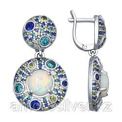 Серьги SOKOLOV серебро с родием, опал синт. фианит, круг 83020044