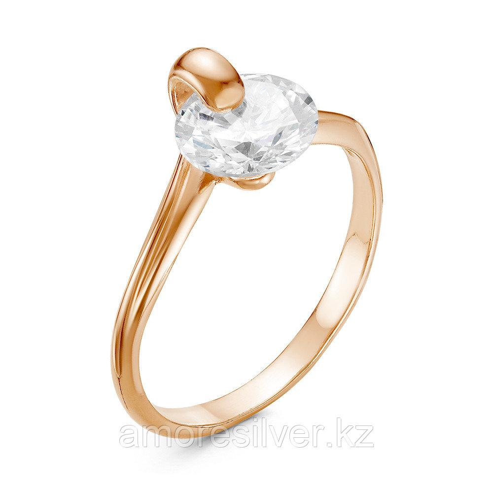Кольцо Красная Пресня серебро с позолотой, фианит, круг 238810