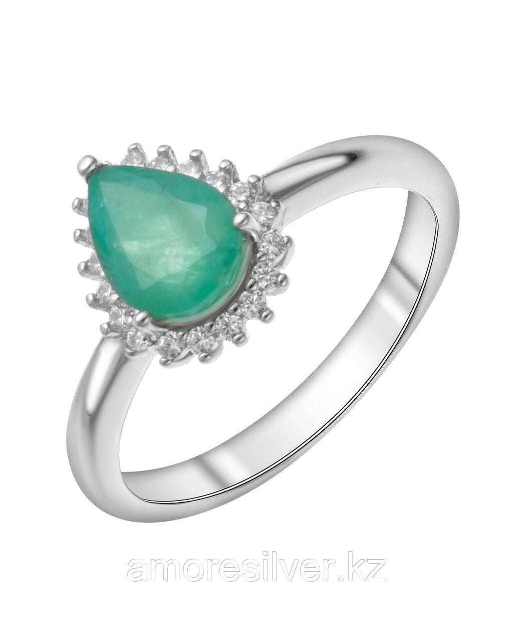 """Кольцо Teosa серебро с родием, изумруд нат. (o) фианит иск., """"halo"""" R-DRGR00677-EM размеры - 17,5 18"""