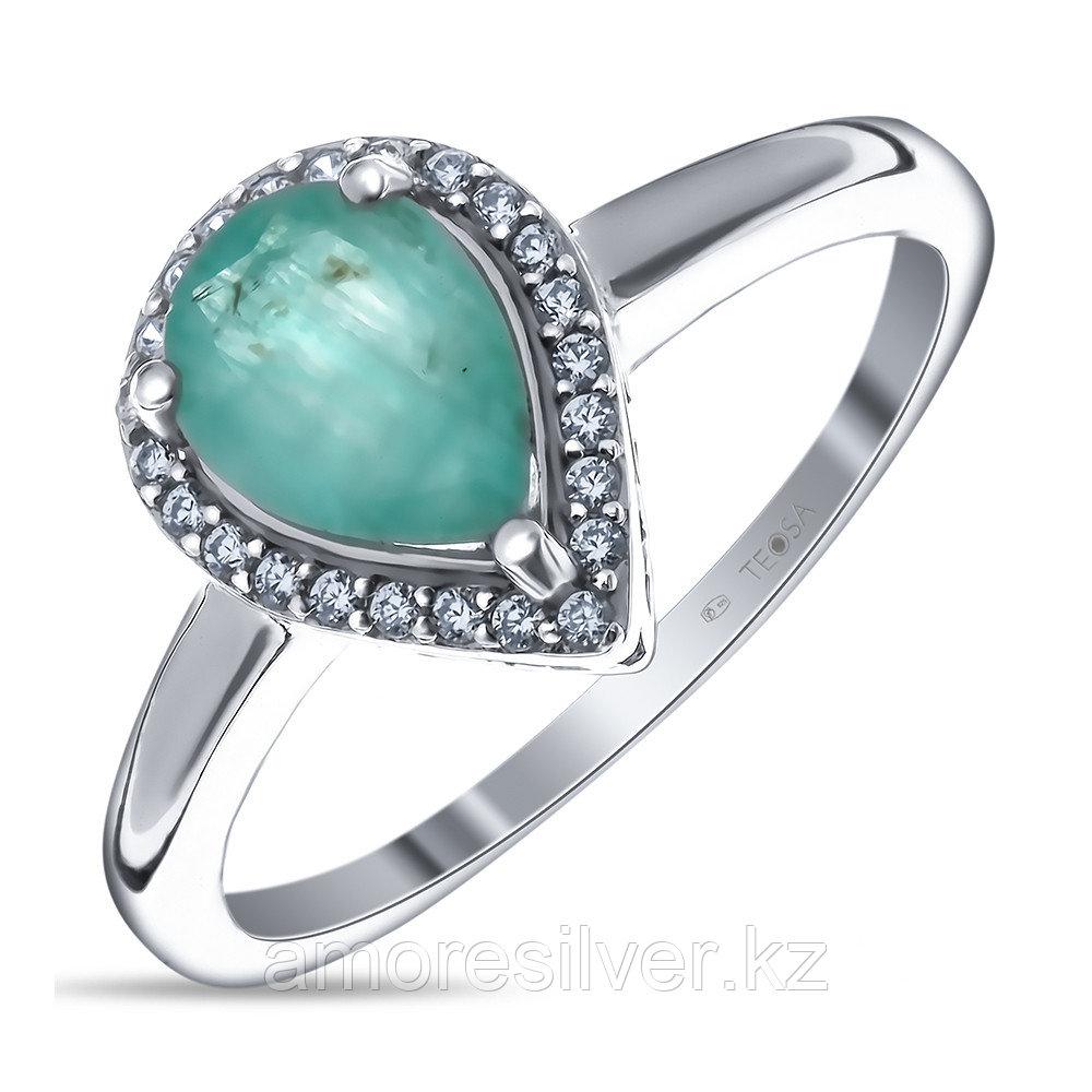 """Кольцо Teosa серебро с родием, изумруд фианит, """"halo"""" R-DRGR00680-EM размеры - 16,5"""