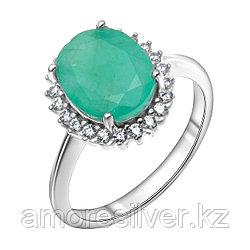 """Кольцо Teosa серебро с родием, изумруд фианит, """"halo"""" R-DRGR00875-EM"""