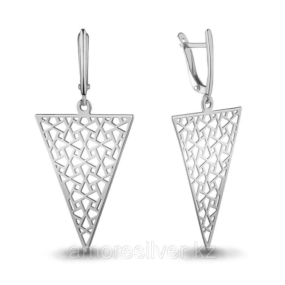 Серьги Aquamarine серебро с родием, без вставок, с английским замком, треугольник 33556