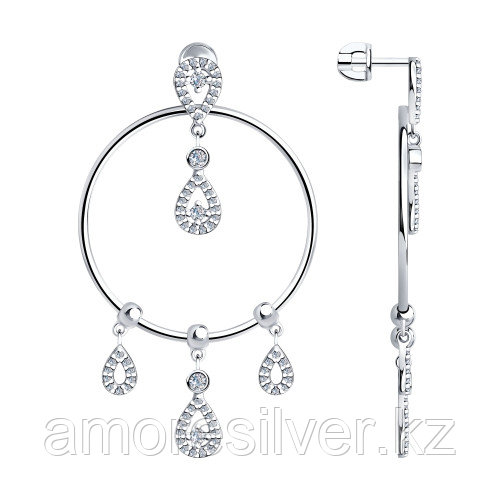 SOKOLOV серебро с родием, фианит , круг 94023799