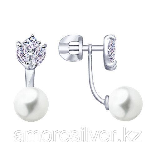 Серьги Teosa серебро с родием, жемчуг имит. фианит, флора 94022977