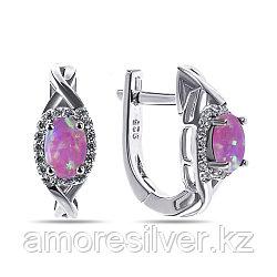 Серьги Teosa серебро с родием, опал розовый синт. фианит, овал F-CC0229E-OPP