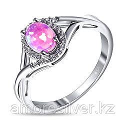 Кольцо Teosa серебро с родием, опал розовый синт. фианит, овал F-CC0229R-OPP