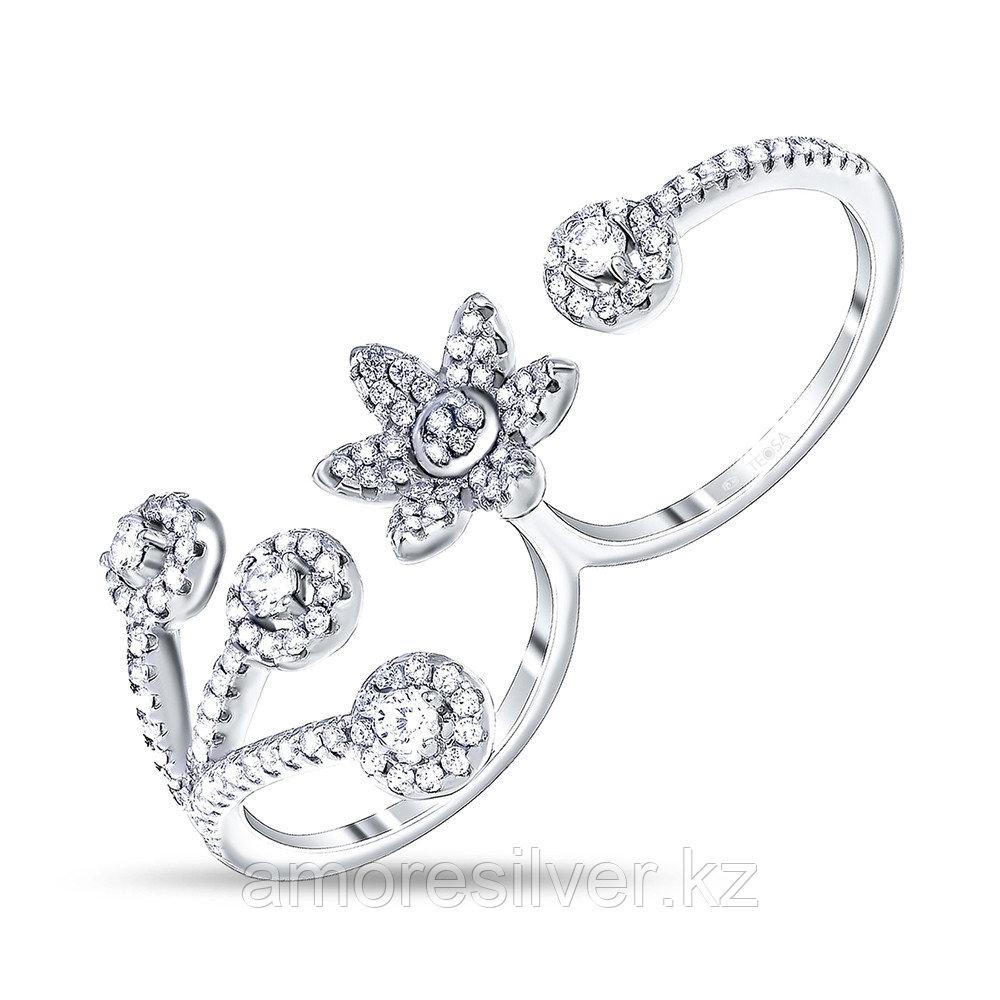 Кольцо Teosa серебро с родием, фианит, флора LYB02367-R