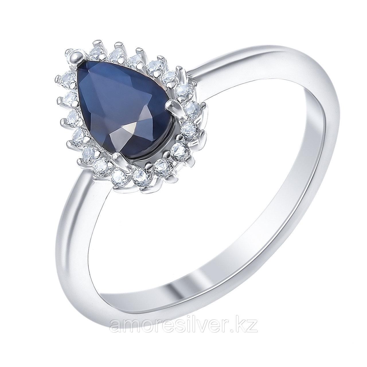 """Кольцо Teosa серебро с родием, сапфир нат. (u) фианит иск., """"halo"""" R-DRGR00905-SP размеры - 16 16,5 17,5"""
