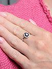"""Кольцо Teosa серебро с родием, сапфир нат. (u) фианит иск., """"halo"""" R-DRGR00905-SP размеры - 16 16,5 17,5, фото 2"""