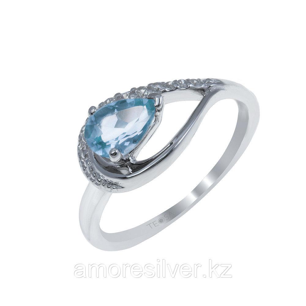 """Кольцо Teosa серебро с родием, топаз фианит, , """"halo"""" R-1340-T размеры - 16"""