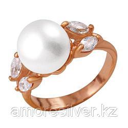 Кольцо Красная Пресня серебро с позолотой, жемчуг культ. фианит, модное 2332124 размеры - 18,5