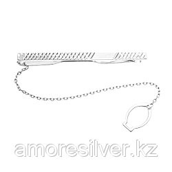 "Зажим для галстука Aquamarine серебро с родием, без вставок, ""насечки"" 70428.5"
