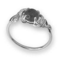 Кольцо  серебро с родием, агат фианит, круг 211109