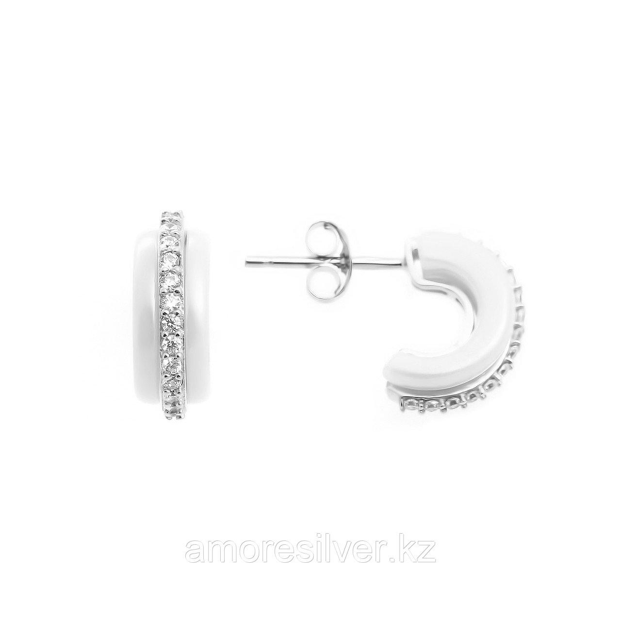 """Серьги Teosa серебро с родием, керамика фианит, """"линии"""" BJ-CS1081-W-R"""