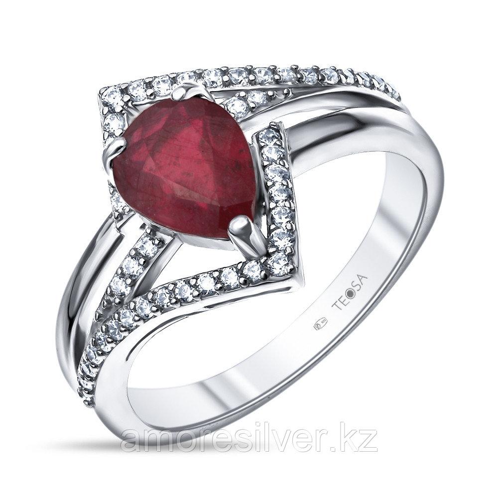 """Кольцо Teosa серебро с родием, рубин фианит, """"halo"""" R-DRGR00838-RB"""