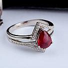 """Кольцо Teosa серебро с родием, рубин фианит, """"halo"""" R-DRGR00838-RB, фото 3"""