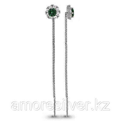 """Серьги Aquamarine серебро с родием, стекло фианит, """"halo"""" 41024Г.5"""