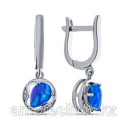 Серьги Teosa серебро с родием, фианит опал голубой синт., круг F-OCC00183E-OPB