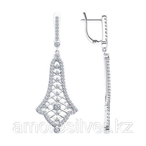 Серьги SOKOLOV серебро с родием, фианит , многокаменка 94023373