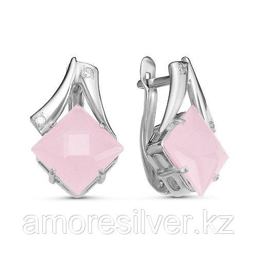 Серьги Красная Пресня серебро с родием, кварц розовый фианит, квадрат 33310116ДК