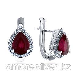 "Серьги Teosa серебро с родием, рубин фианит, ""halo"" E-DRGR00680-RB"