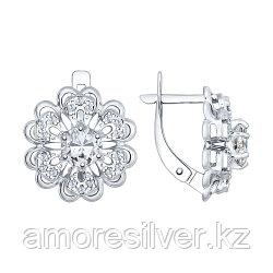 Серьги SOKOLOV серебро с родием, горный хрусталь фианит, флора 92021536