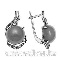 Серьги Приволжский Ювелир серебро с родием, алпанит бирюза синт., круг 361511